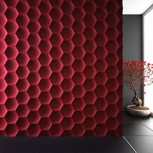 Объёмная стена из шестиугольников