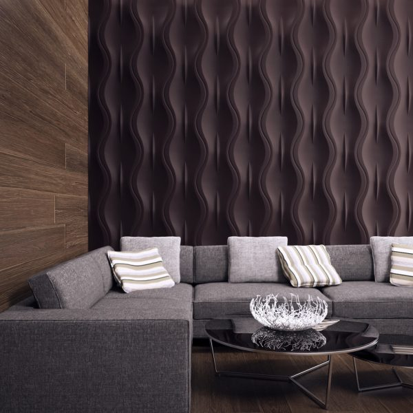 Объёмная коричневая стена в интерьере