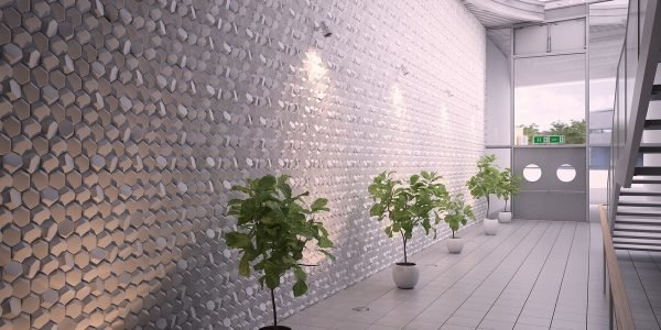 Объёмная стена в холле