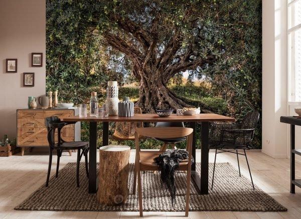 Дерево и фотообои в интерьере